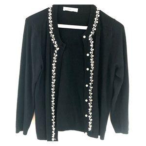 Black Zara cardigan with pearls